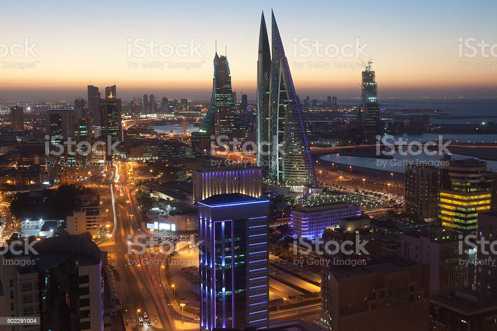 Manama City at night, Bahrain stock photo