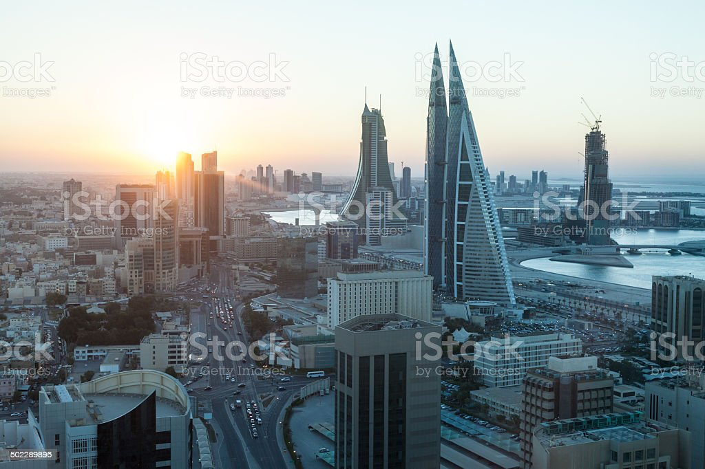 Manama City at sunset, Bahrain stock photo