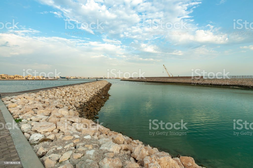 Manama city, Bahrain port stock photo