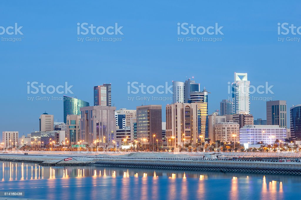 Manama skyline at night, Bahrain stock photo