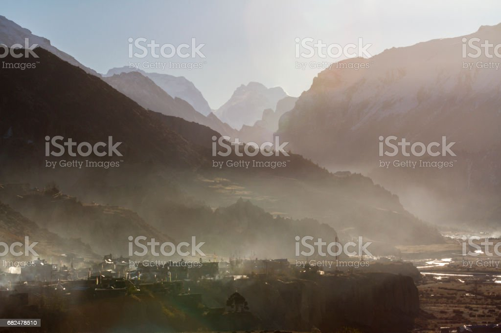 Manang in the foggy  morning, Nepal stock photo