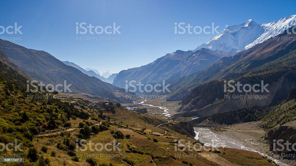 Manang Valley, Nepal stock photo