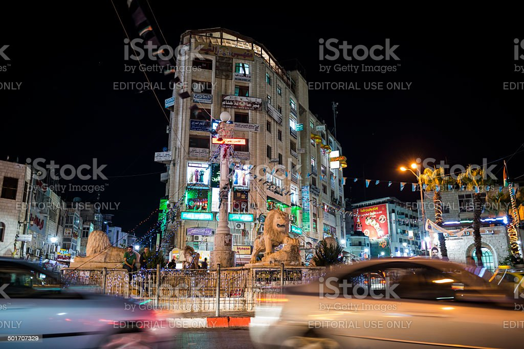 Manara at night - Ramallah, Palestine stock photo