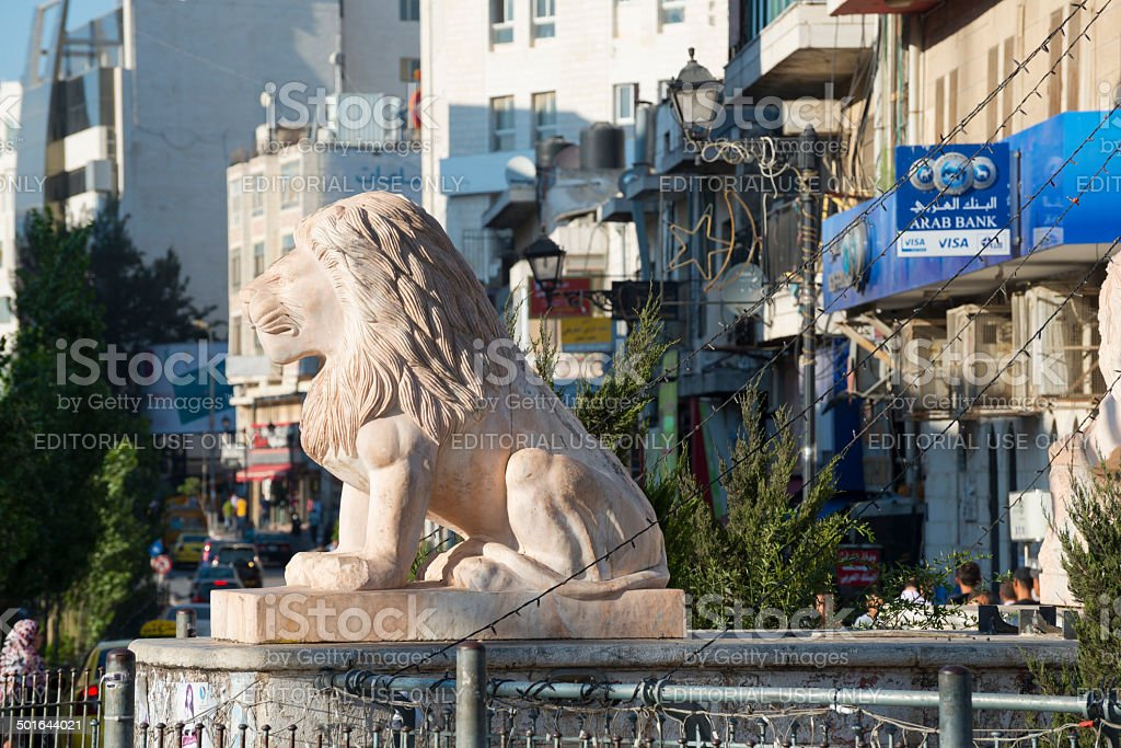 Manara lion statue in Ramallah, West Bank stock photo