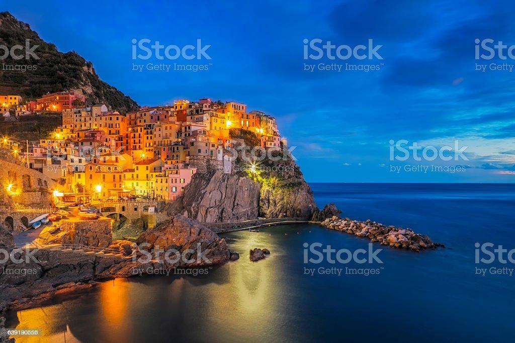 Manarola at dawn, Cinque Terre National Park, Liguria, Italy stock photo