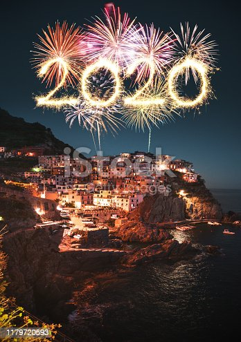 manarola at night with fireworks