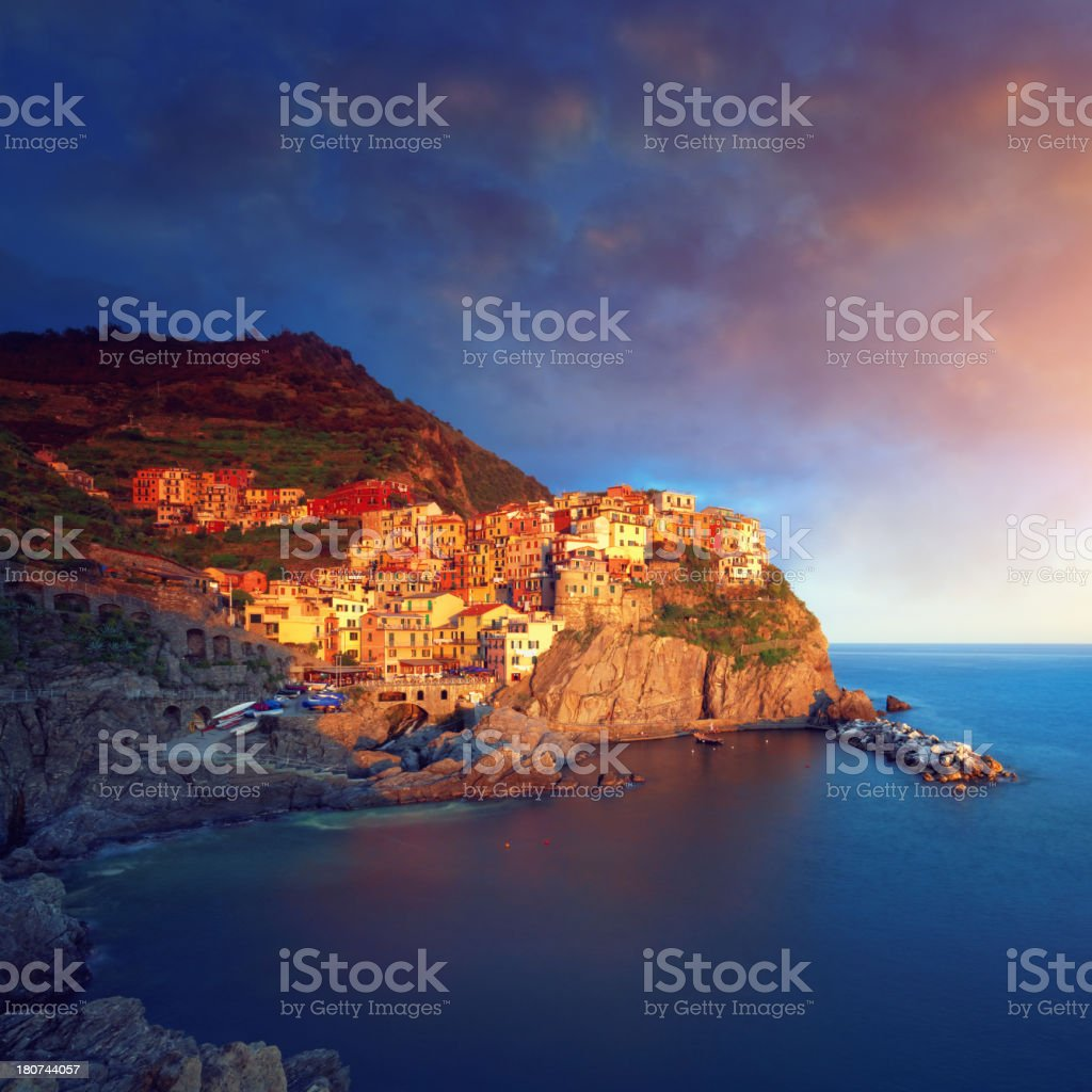 Manarola, Cinque Terre, at sunset royalty-free stock photo