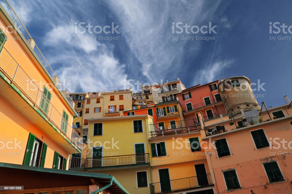 Manarola colorful streets stock photo