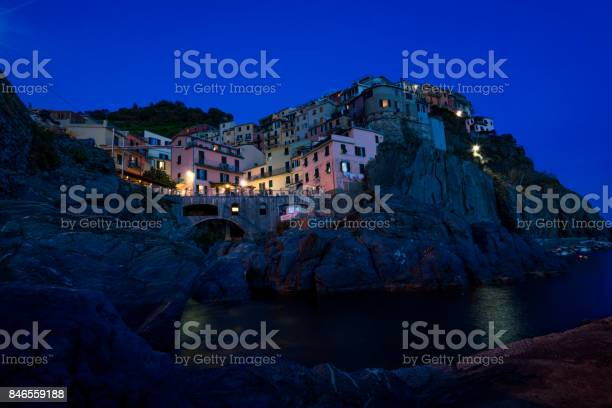 Photo of Manarola in the blue hour