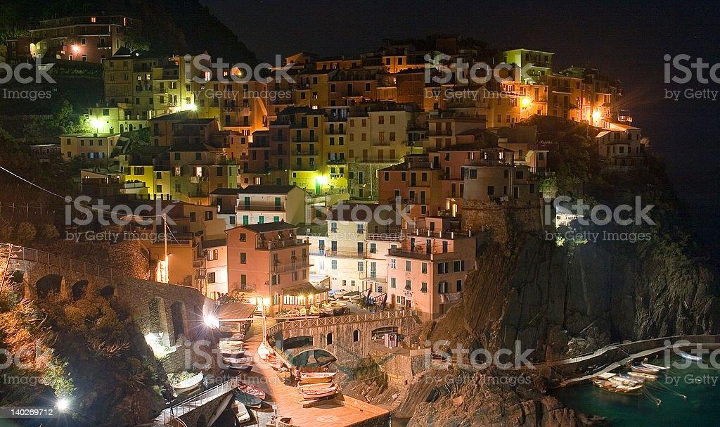 Manarola, Italy (Cinque Terre) at Night royalty-free stock photo