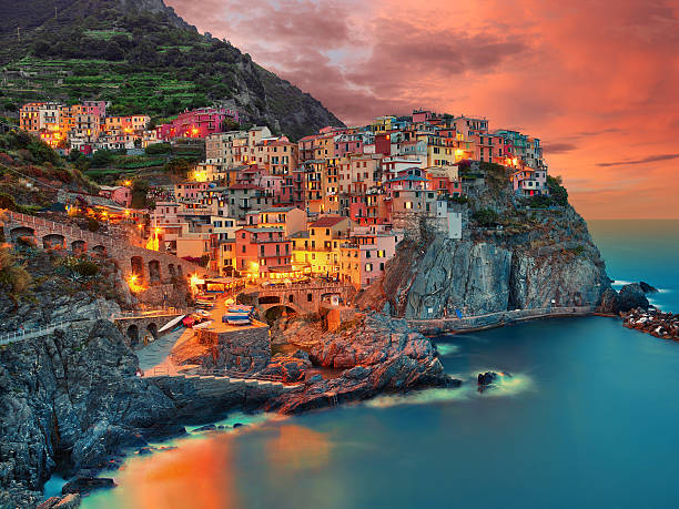 Manarola Italy (cinque terre) stock photo
