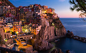 Picture of Manarola La Spezia  city with small villages at evening, Italy