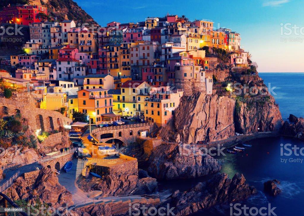 Manarola La Spezia City With Small Villages At Evening Italy Royalty Free Stock Photo