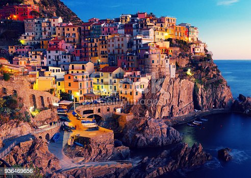Manarola La Spezia City With Small Villages At Evening Italy Stock Photo More Pictures Of Apartment