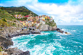 Manarola,  one of the five famous coastal village in the Cinque Terre National Park, Liguria, Italy