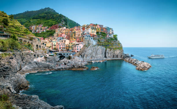 Manarola town in Cinque Terre, Italy in the summer stock photo