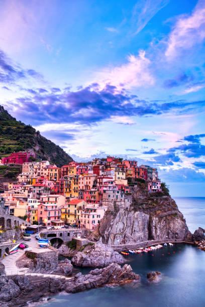 Manarola Village at Sunrise, Cinque Terre, Italy stock photo