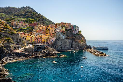Manarola village , Cinque terre National Park in summer. Liguria. Italy