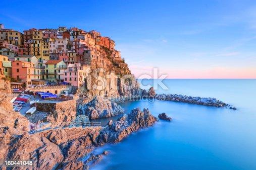 istock Manarola village, rocks and sea at sunset. Cinque Terre, Italy 160441048