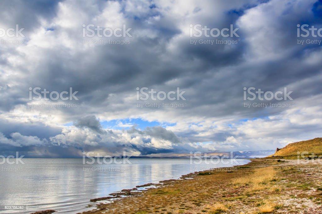 Manasarovar lake at Tibet stock photo