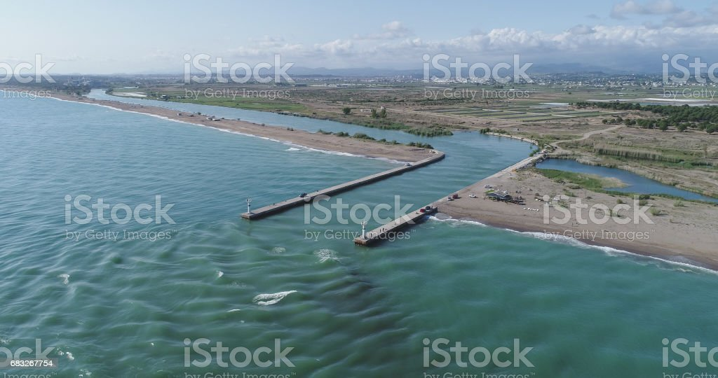 Manavgat harbour entrance and lighthouse aerial view stock photo