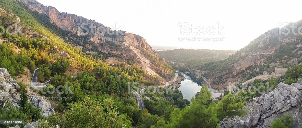 Manavgat river in the evening light stock photo