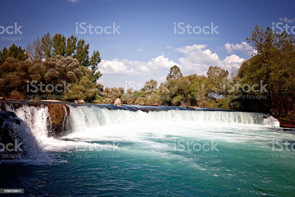 Manavgat Waterfall on a summer's day stock photo