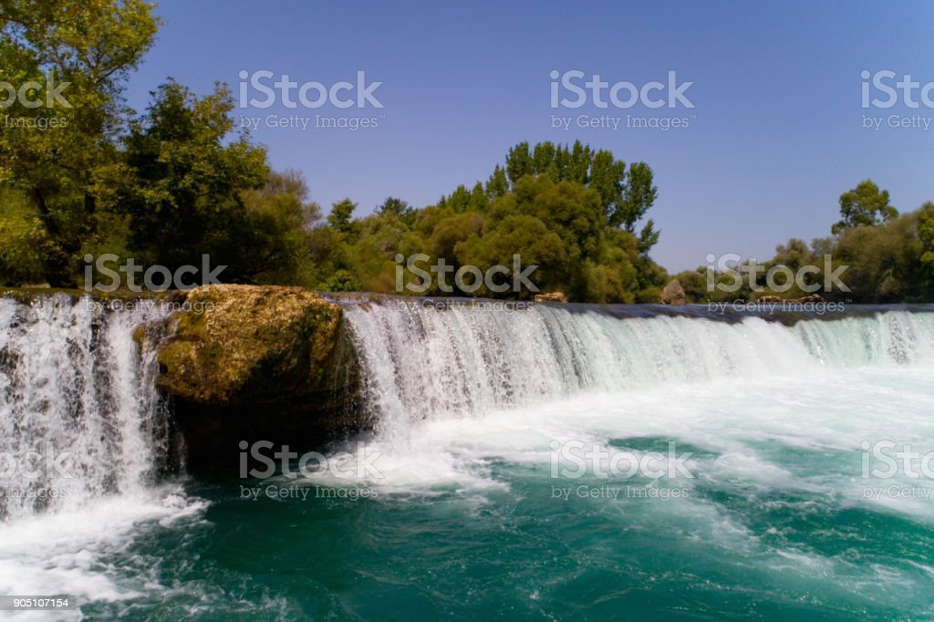 Manavgat waterfall on the river of the same name. stock photo