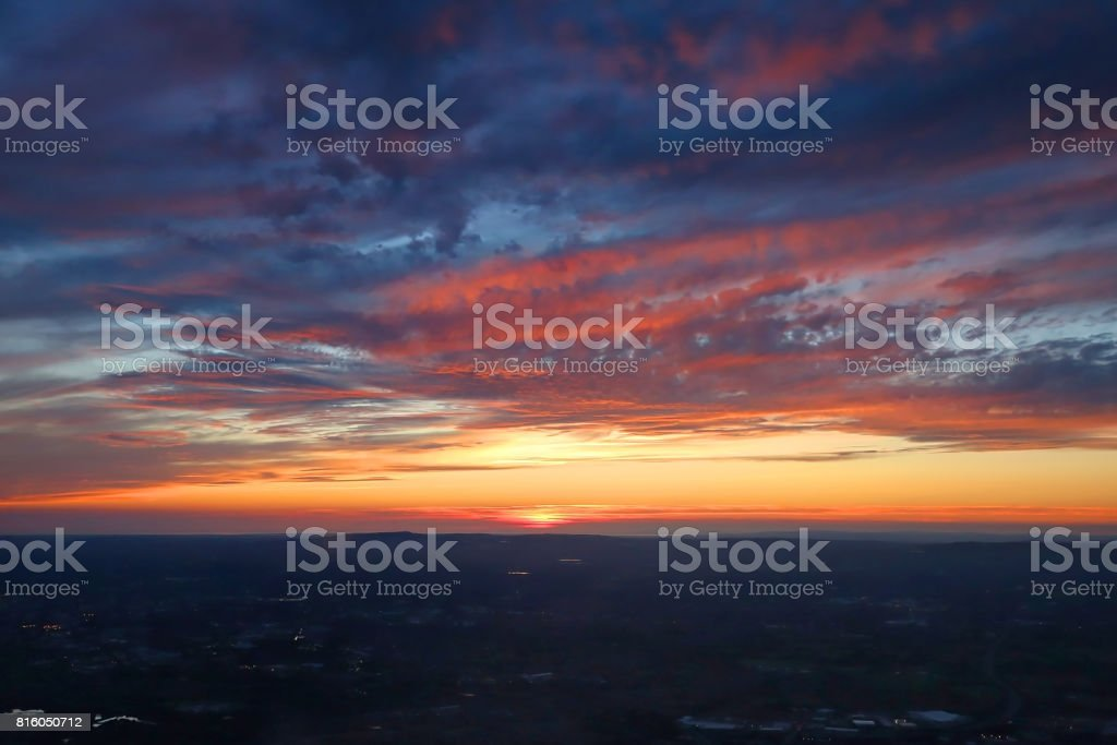 Manchester Aerial Sunset stock photo