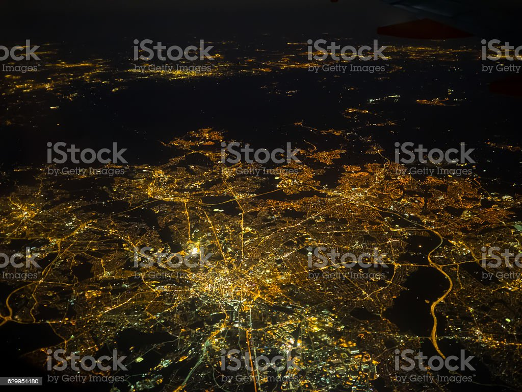 Manchester at night stock photo