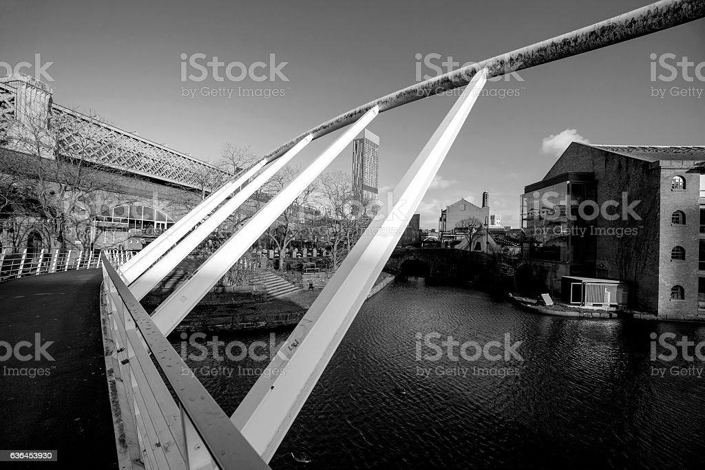 Manchester Bridge in the Sunshine. City scene stock photo