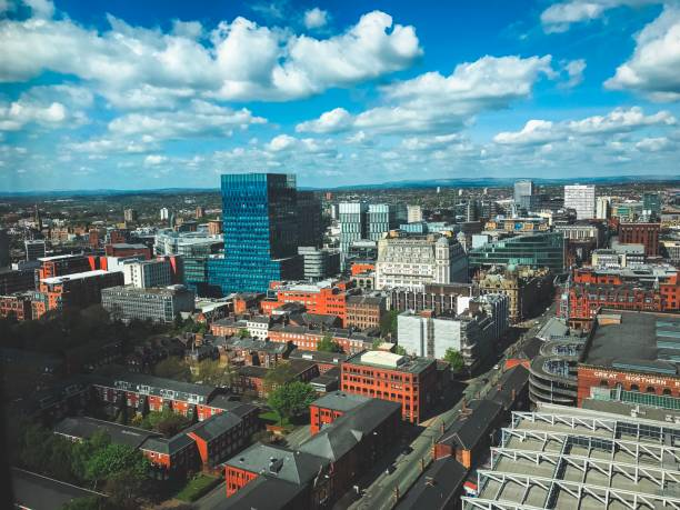 Manchester City aerial view drone shot spring urban stock photo