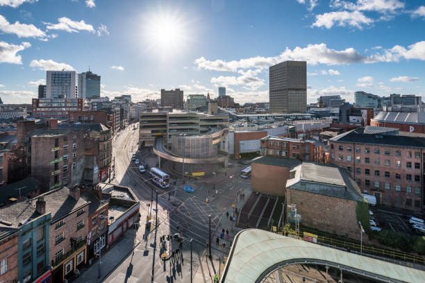 Manchester city center View over Manchester city from high up. northwest england stock pictures, royalty-free photos & images