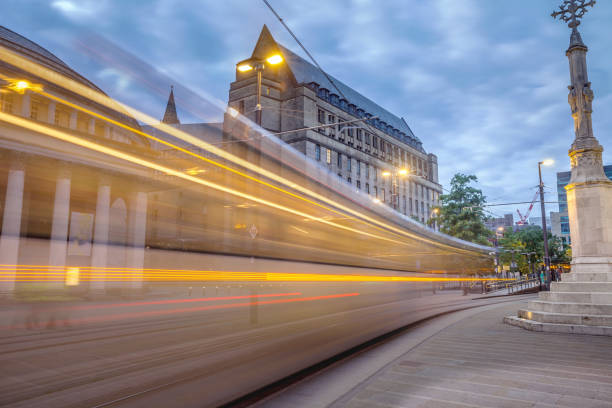 Manchester City Center Trams and activity. stock photo