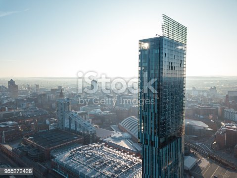 Manchester City Centre Drone Aerial View Above Building Work Skyline Construction Blue Sky Summer Hilton Beetham