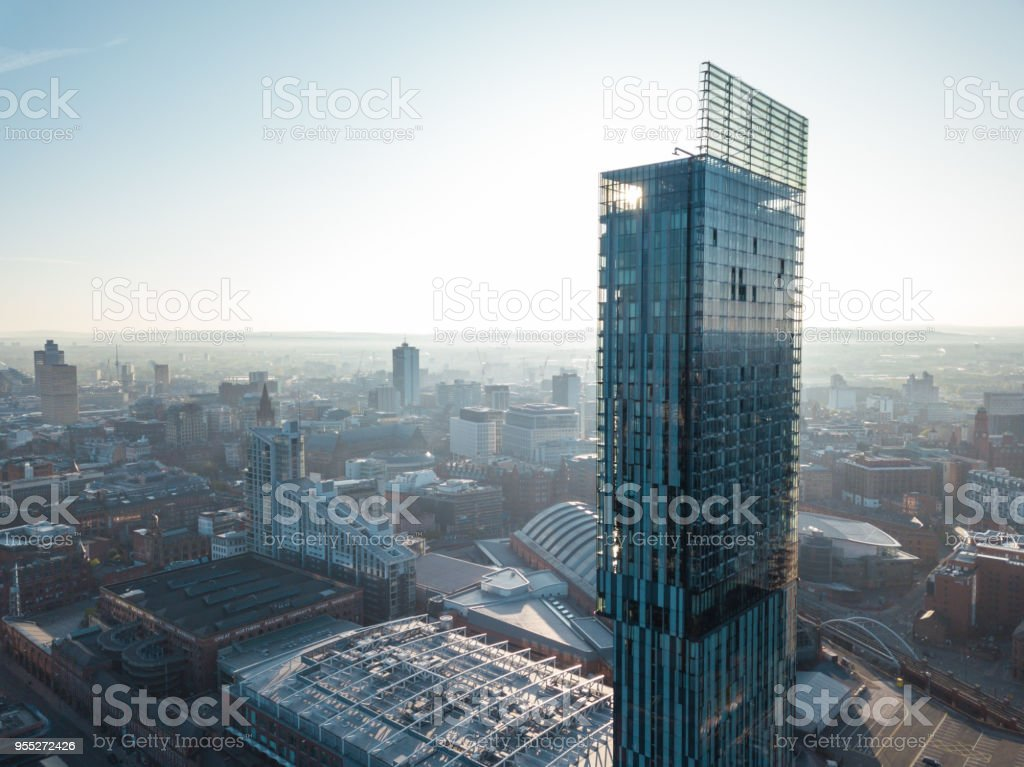 Manchester City Centre Drone Aerial View Above Building Work Skyline Construction Blue Sky Summer Hilton Beetham stock photo