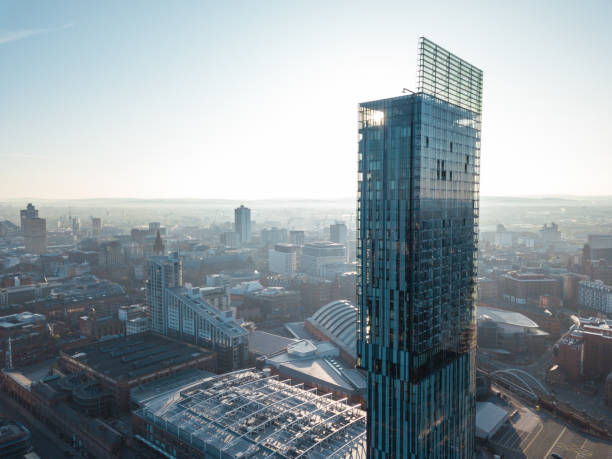 Manchester City Centre Drone Aerial View Above Building Work Skyline Construction Blue Sky Summer Hilton Beetham Manchester City Centre Drone Aerial View Above Building Work Skyline Construction Blue Sky Summer Hilton Beetham northwest england stock pictures, royalty-free photos & images