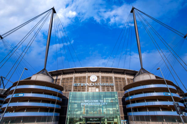 Manchester City Football Club in Manchester, UK stock photo