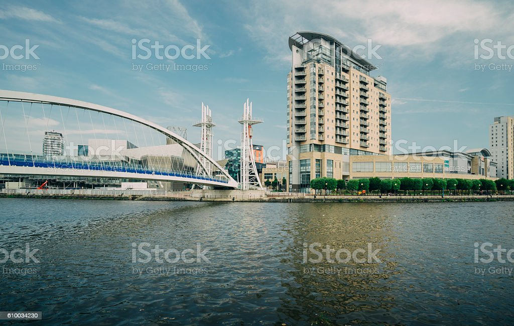 Manchester - City in North West England (UK). Salford Quays stock photo