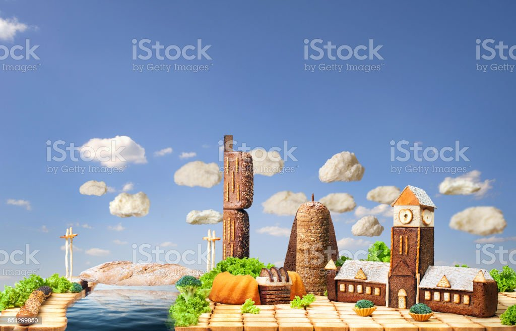 Manchester city made of food stock photo