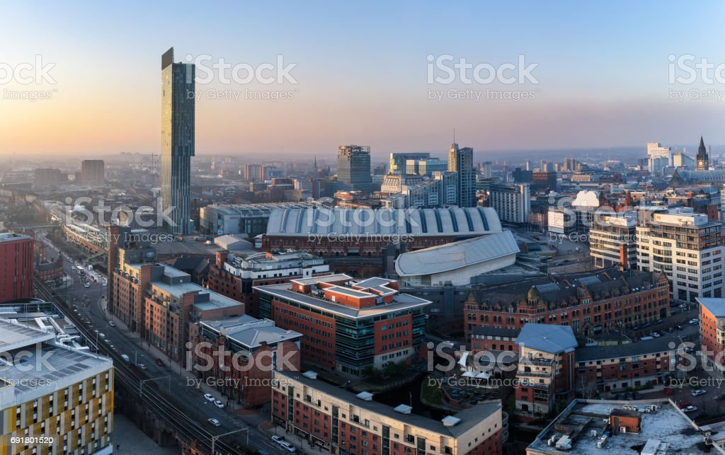 Manchester city panoramic view stock photo