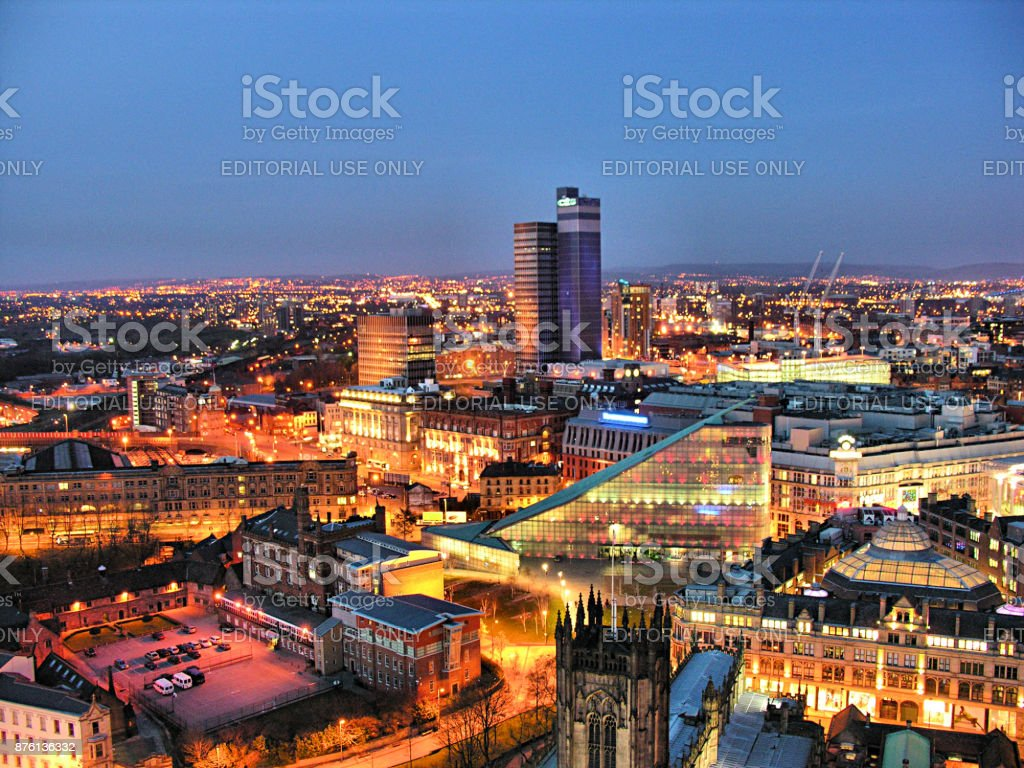 Manchester City Skyline at Night stock photo