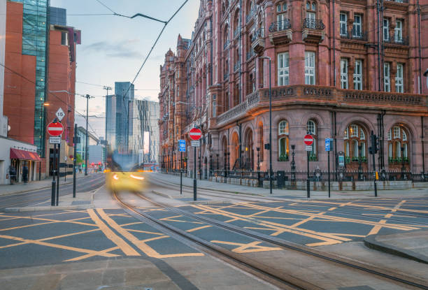 Manchester City Street and Tram. stock photo