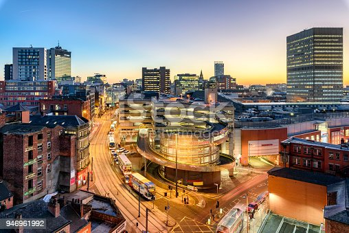 Aerial view of City Center Manchester, UK.
