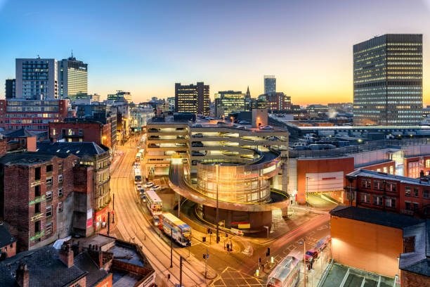 Manchester England Aerial view of City Center Manchester, UK. northwest england stock pictures, royalty-free photos & images