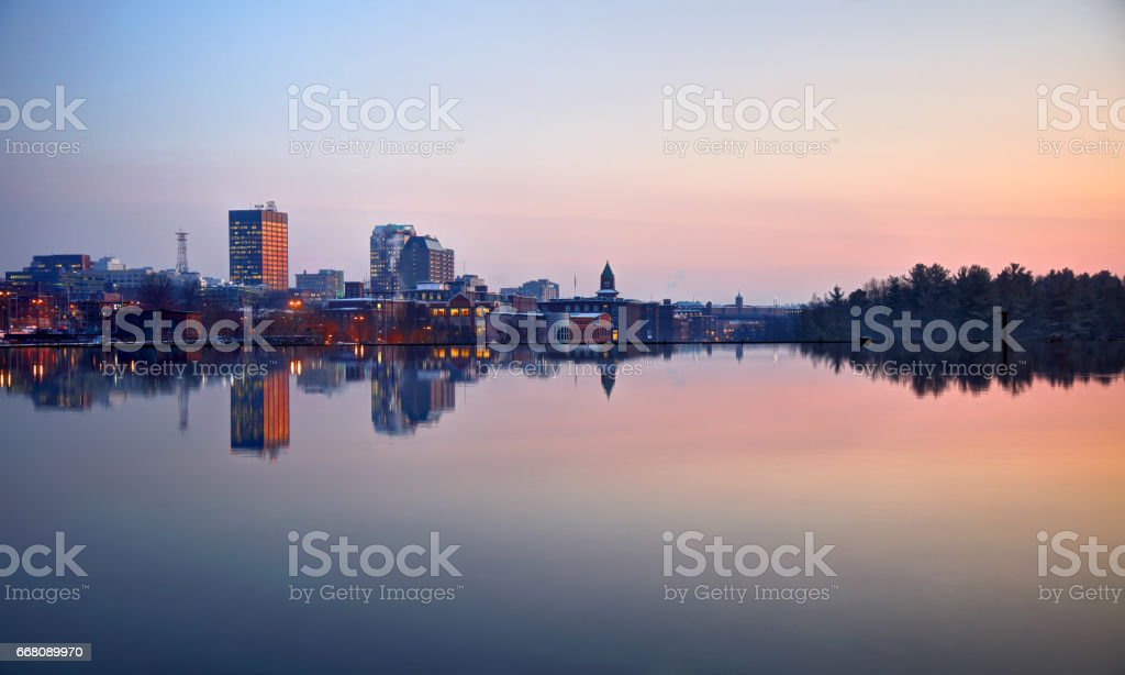 Manchester, New Hampshire along the Merrimack River stock photo