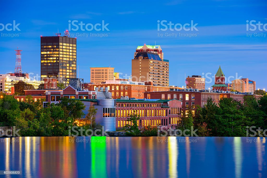 Manchester, New Hampshire Skyline stock photo