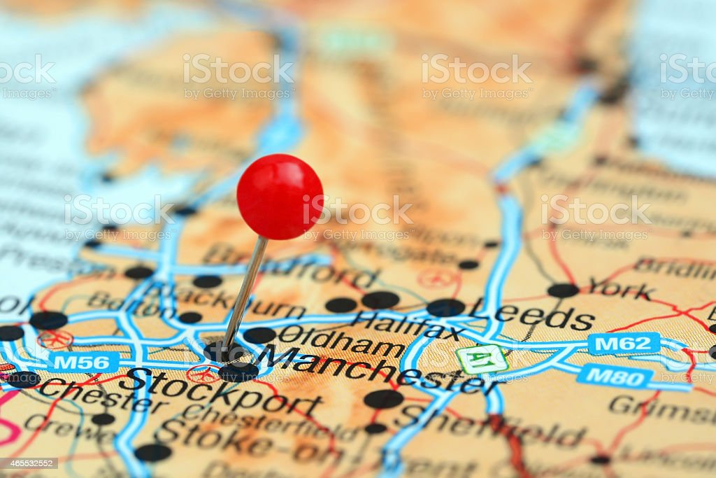Manchester pinned on a map of europe stock photo