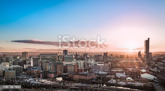 Aerial View of the Manchester Skyline at Sunrise