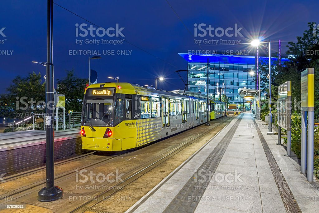 Manchester Tram Salford Quays Manchester stock photo